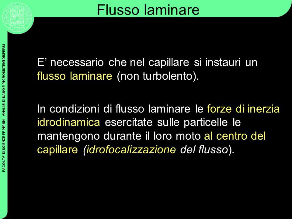 Flusso laminare E' necessario che nel capillare si instauri un flusso laminare (non turbolento).