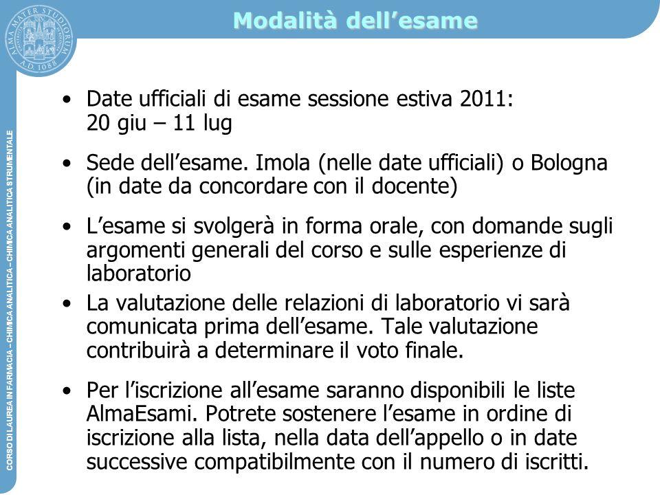 Modalità dell'esame Date ufficiali di esame sessione estiva 2011: 20 giu – 11 lug.