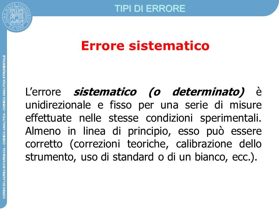 TIPI DI ERRORE Errore sistematico.