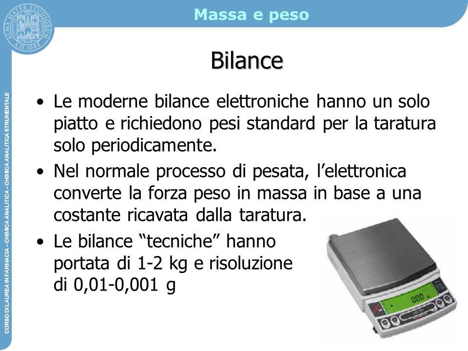 Massa e peso Bilance. Le moderne bilance elettroniche hanno un solo piatto e richiedono pesi standard per la taratura solo periodicamente.
