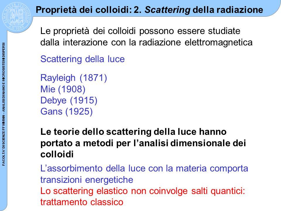 Proprietà dei colloidi: 2. Scattering della radiazione