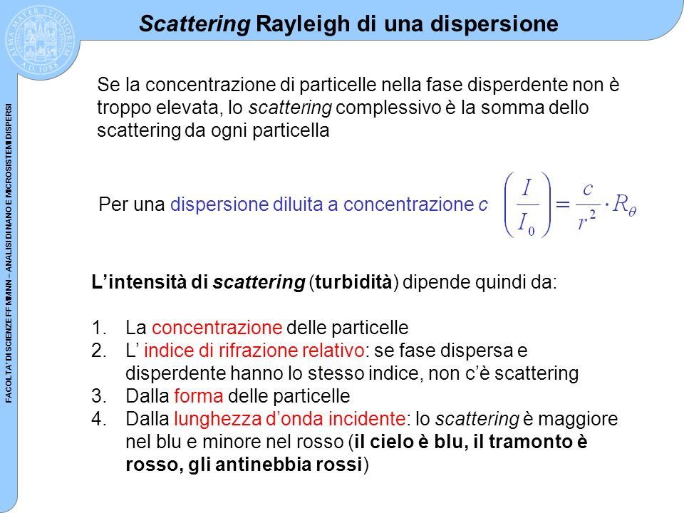 Scattering Rayleigh di una dispersione