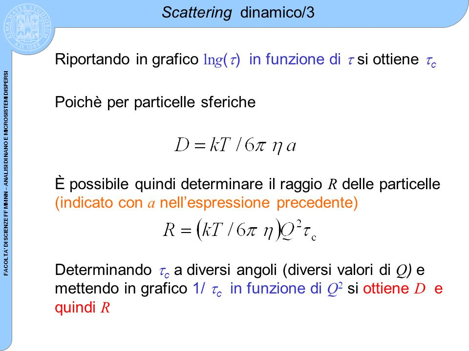 Scattering dinamico/3 Riportando in grafico lng() in funzione di  si ottiene c. Poichè per particelle sferiche.