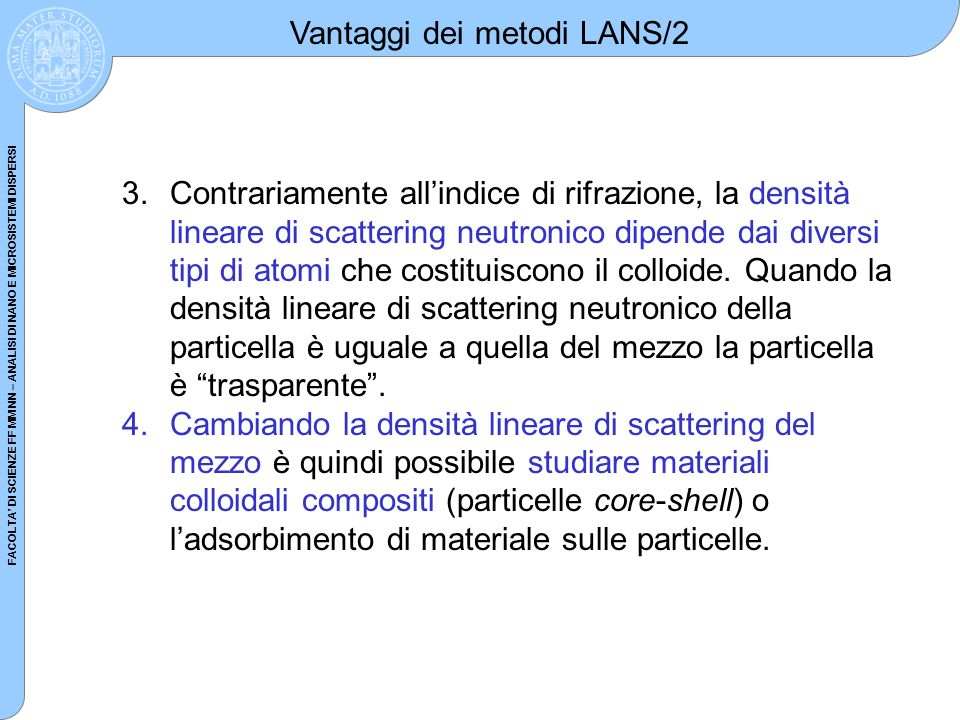 Vantaggi dei metodi LANS/2