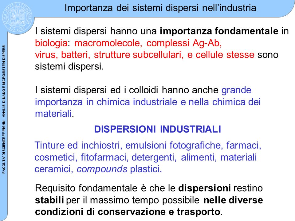 Importanza dei sistemi dispersi nell'industria