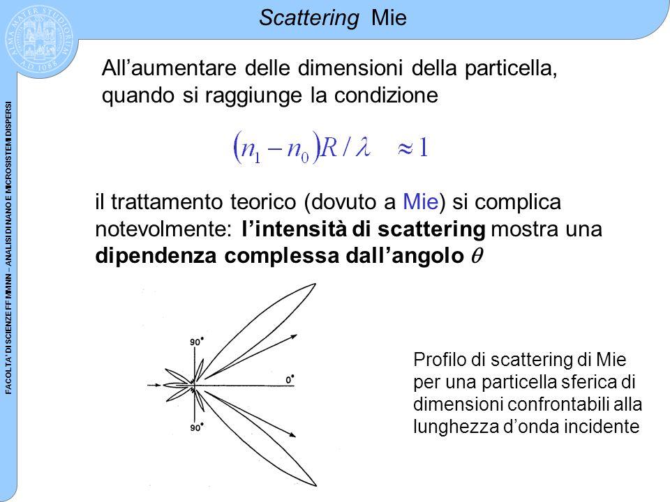 Scattering Mie All'aumentare delle dimensioni della particella, quando si raggiunge la condizione.