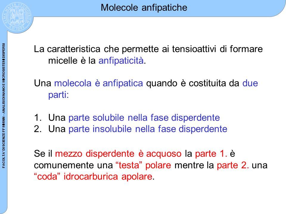 Molecole anfipatiche La caratteristica che permette ai tensioattivi di formare micelle è la anfipaticità.