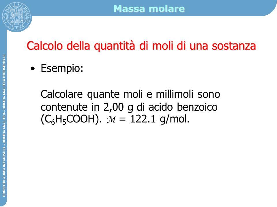 Calcolo della quantità di moli di una sostanza