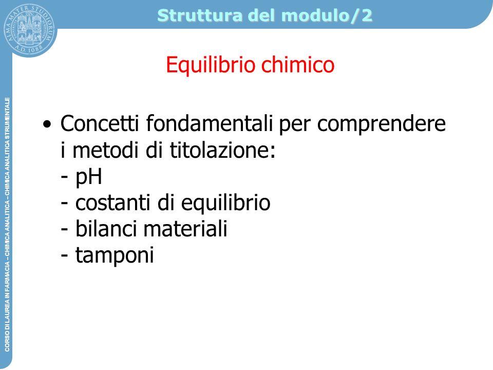 Struttura del modulo/2 Equilibrio chimico.