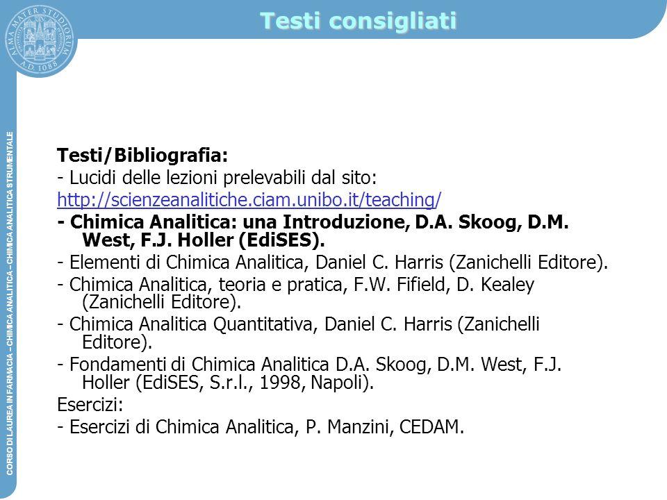 Testi consigliati Testi/Bibliografia: