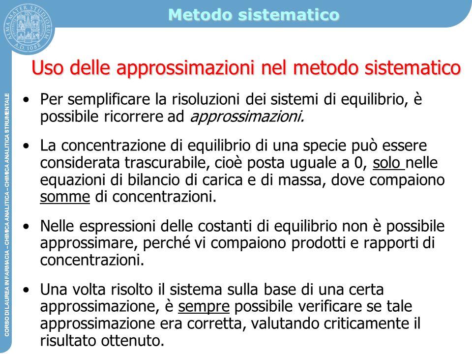 Uso delle approssimazioni nel metodo sistematico