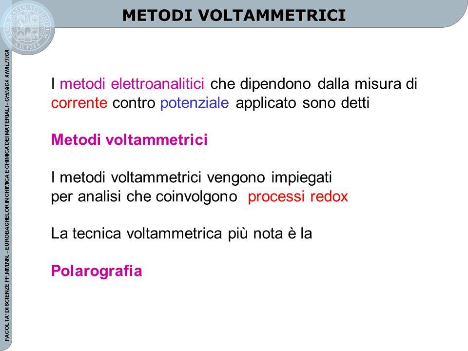 METODI VOLTAMMETRICI I metodi elettroanalitici che dipendono dalla misura di corrente contro potenziale applicato sono detti.