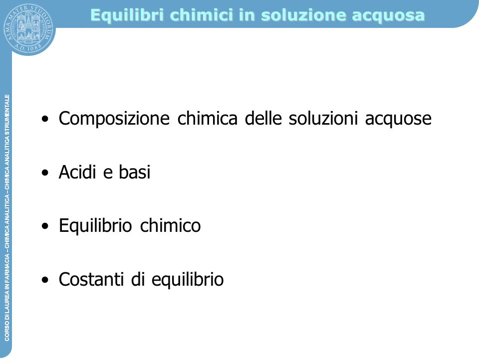 Equilibri chimici in soluzione acquosa