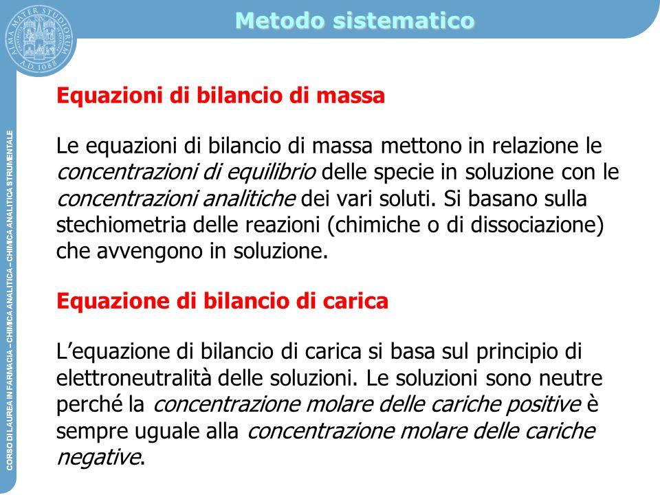 Metodo sistematico Equazioni di bilancio di massa.