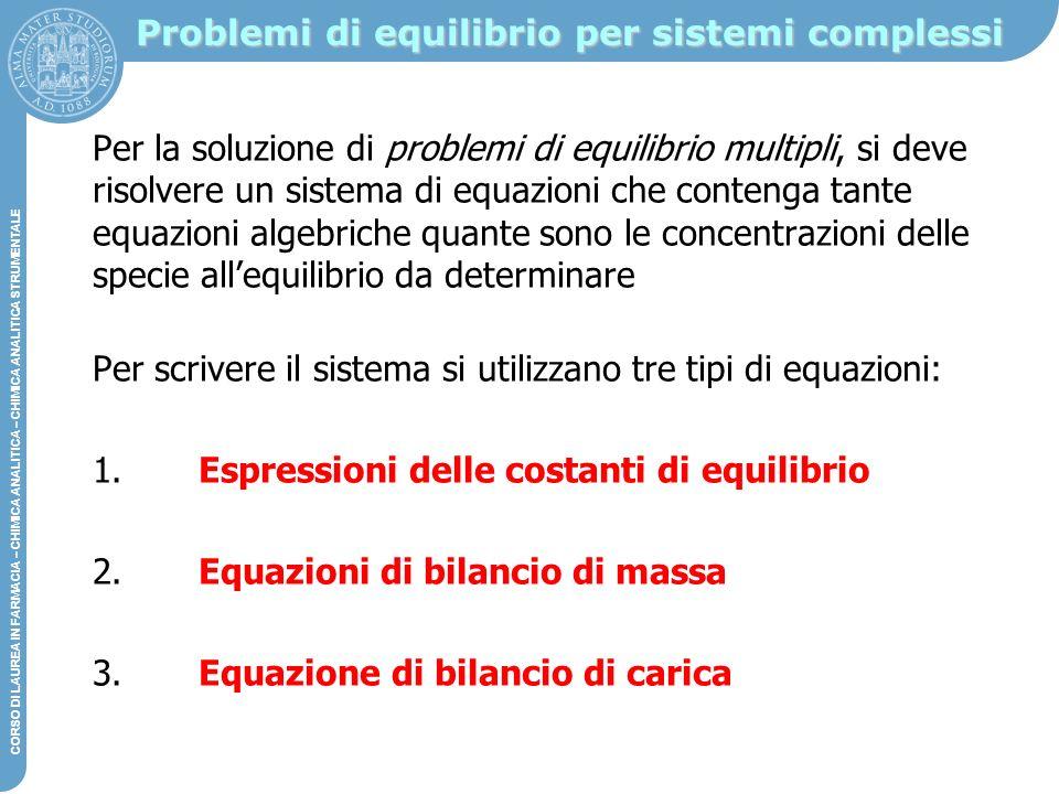 Problemi di equilibrio per sistemi complessi