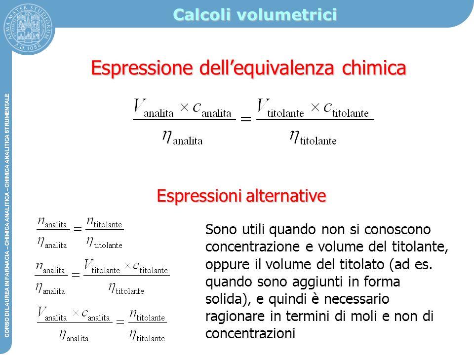 Espressione dell'equivalenza chimica