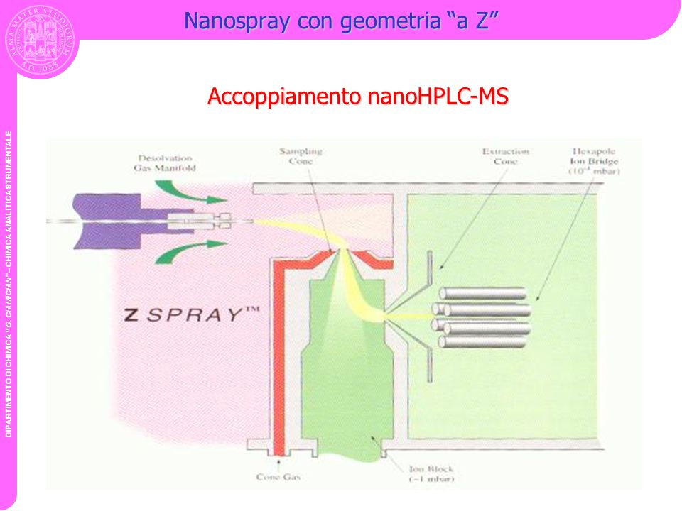 Nanospray con geometria a Z