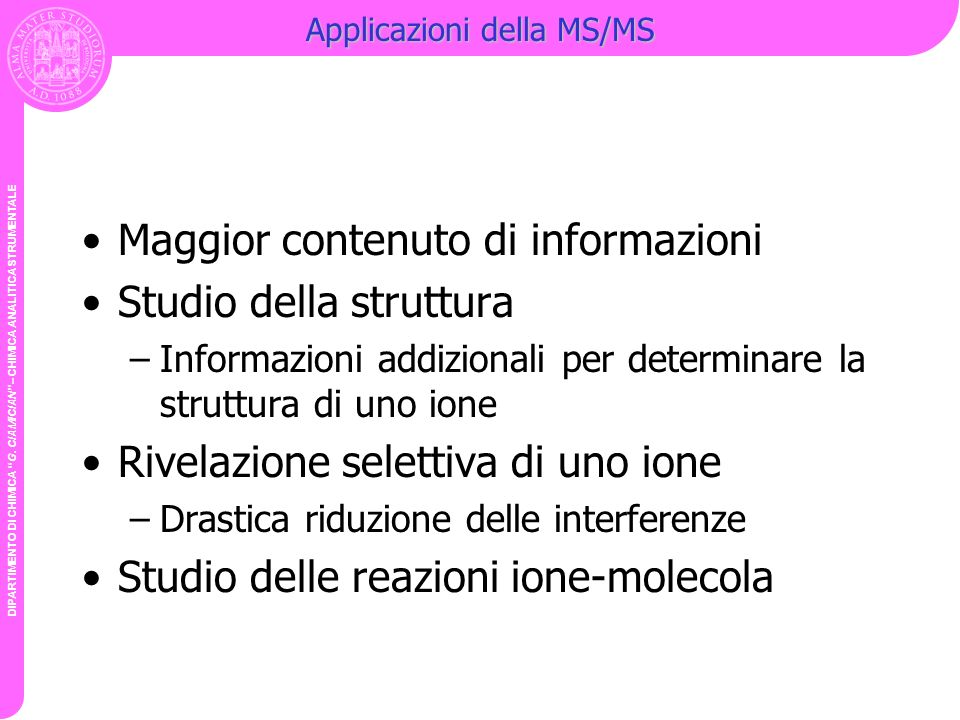 Applicazioni della MS/MS