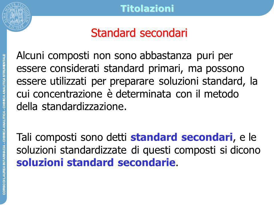 Titolazioni Standard secondari.