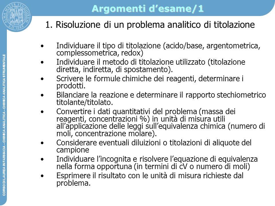 1. Risoluzione di un problema analitico di titolazione