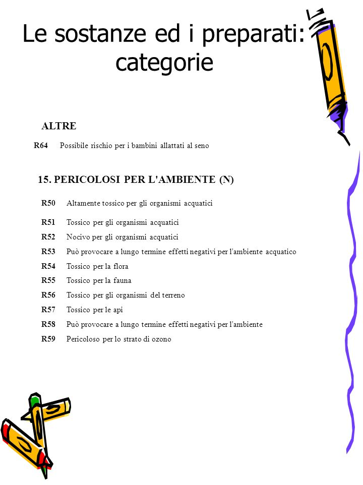Le sostanze ed i preparati: categorie