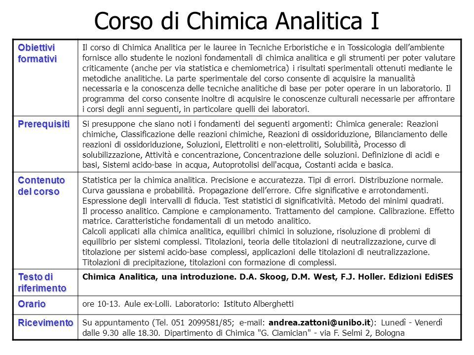 Corso di Chimica Analitica I