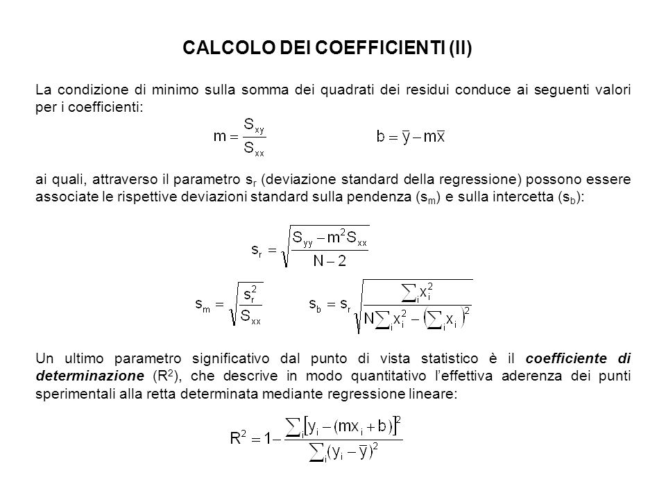 CALCOLO DEI COEFFICIENTI (II)