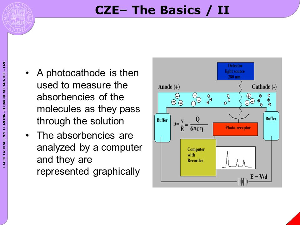 CZE– The Basics / II A photocathode is then used to measure the absorbencies of the molecules as they pass through the solution.