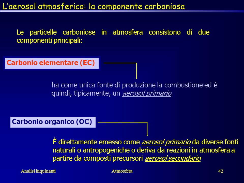 L'aerosol atmosferico: la componente carboniosa