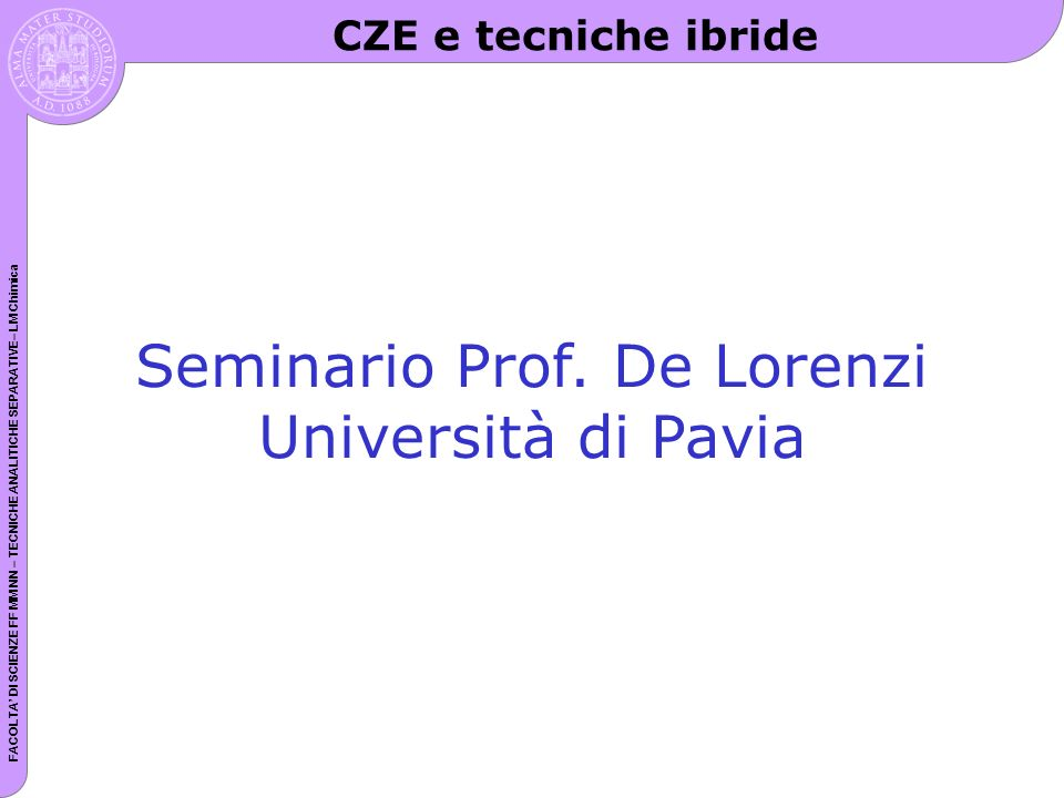 Seminario Prof. De Lorenzi