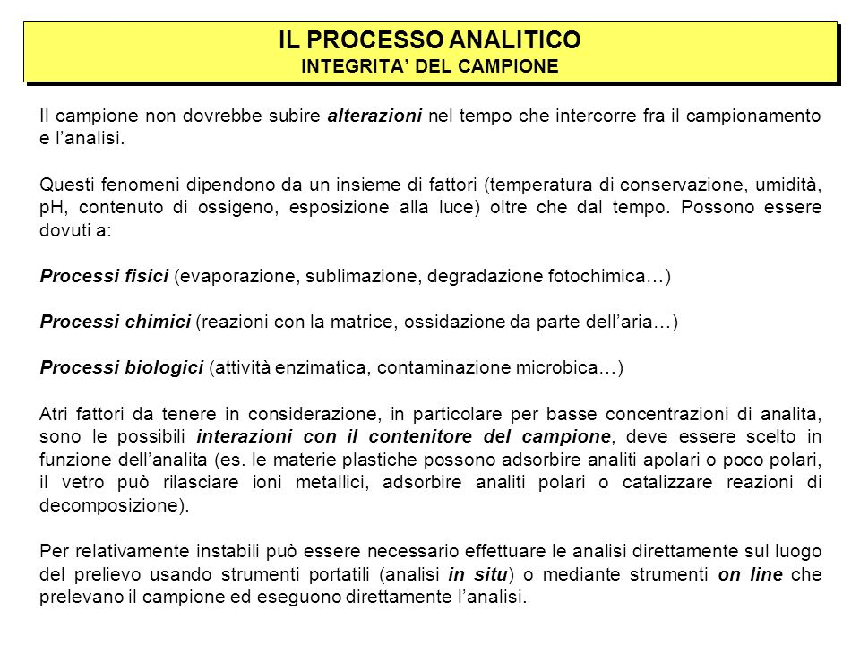 IL PROCESSO ANALITICO INTEGRITA' DEL CAMPIONE
