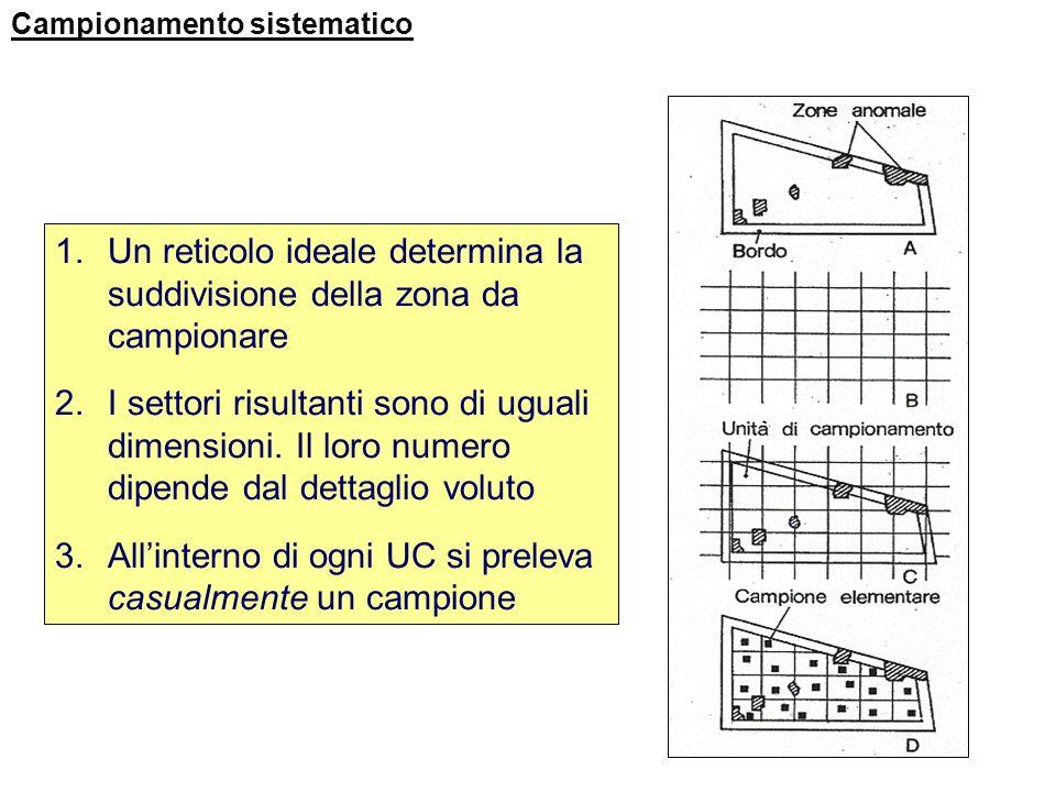 Un reticolo ideale determina la suddivisione della zona da campionare