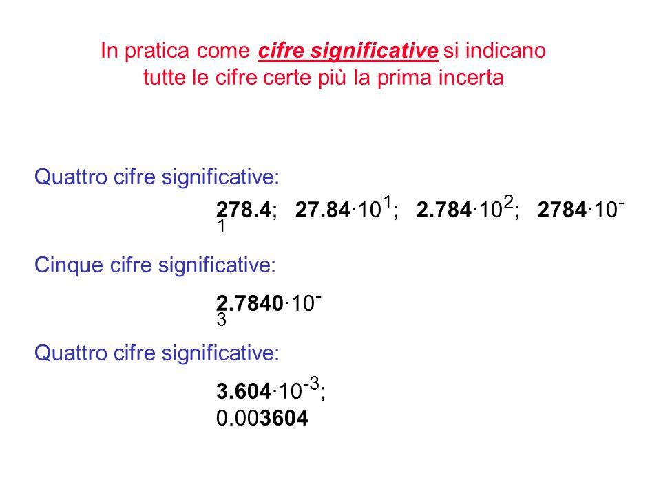 In pratica come cifre significative si indicano tutte le cifre certe più la prima incerta