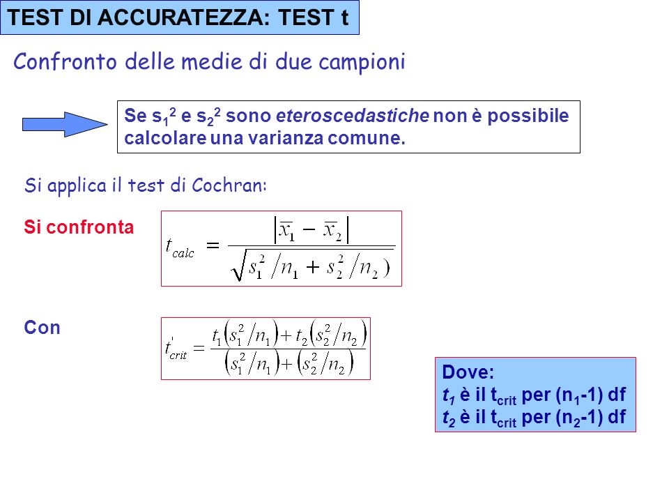 TEST DI ACCURATEZZA: TEST t