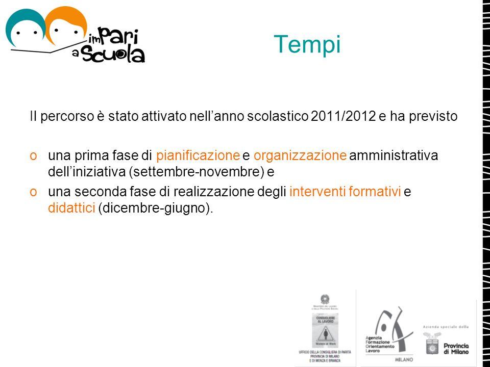 Tempi Il percorso è stato attivato nell'anno scolastico 2011/2012 e ha previsto.