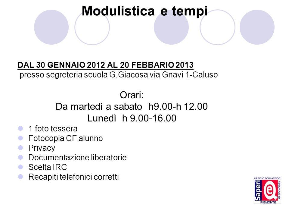 Modulistica e tempi Orari: Da martedì a sabato h9.00-h 12.00