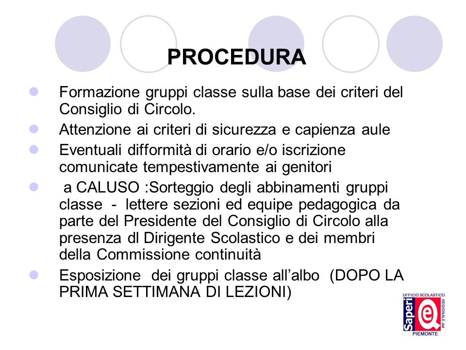 PROCEDURA Formazione gruppi classe sulla base dei criteri del Consiglio di Circolo. Attenzione ai criteri di sicurezza e capienza aule.