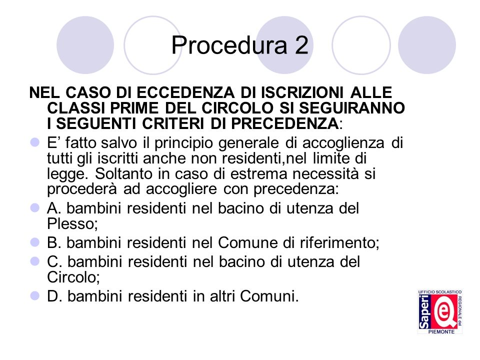 Procedura 2 NEL CASO DI ECCEDENZA DI ISCRIZIONI ALLE CLASSI PRIME DEL CIRCOLO SI SEGUIRANNO I SEGUENTI CRITERI DI PRECEDENZA: