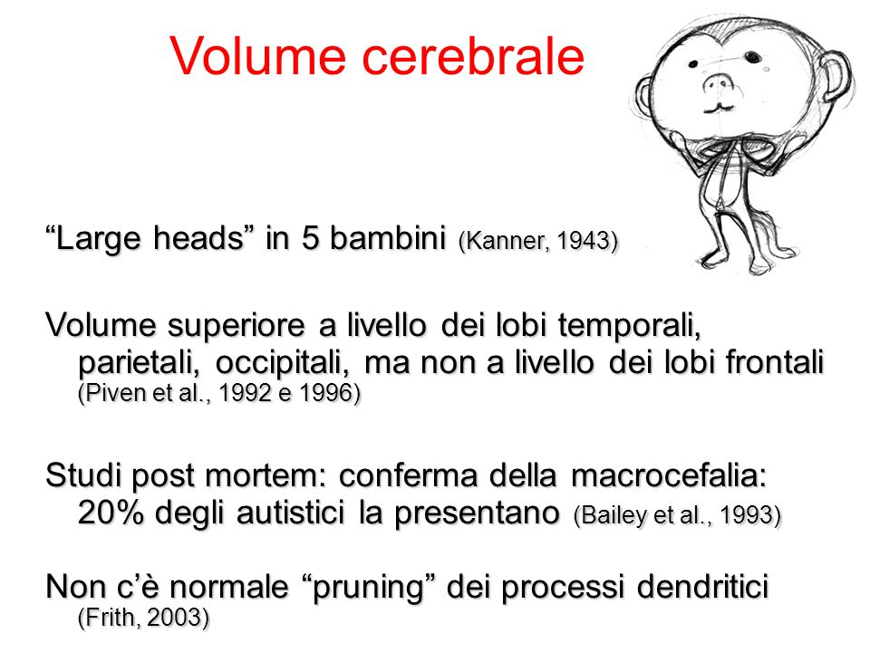 Volume cerebrale Large heads in 5 bambini (Kanner, 1943)