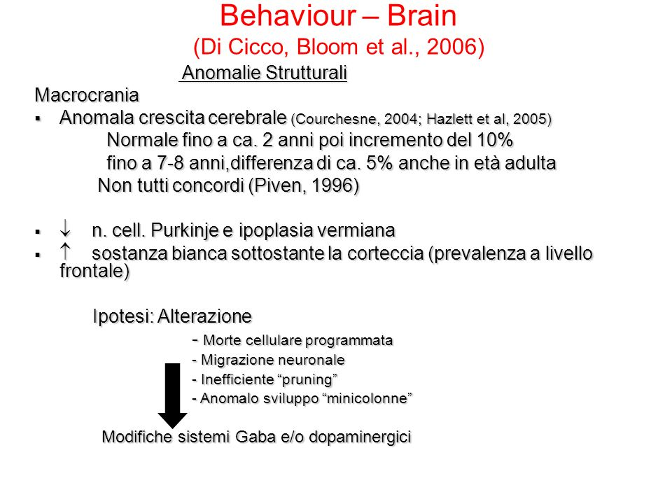 Behaviour – Brain (Di Cicco, Bloom et al., 2006)