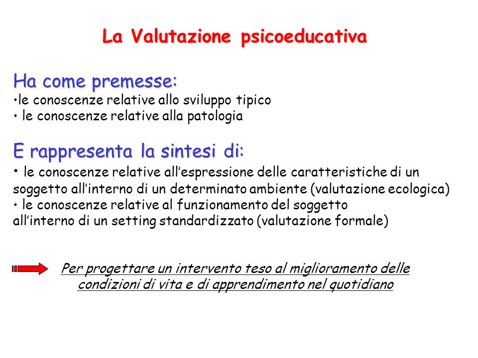 La Valutazione psicoeducativa