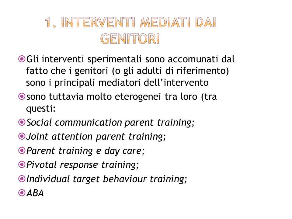 Gli interventi sperimentali sono accomunati dal fatto che i genitori (o gli adulti di riferimento) sono i principali mediatori dell'intervento