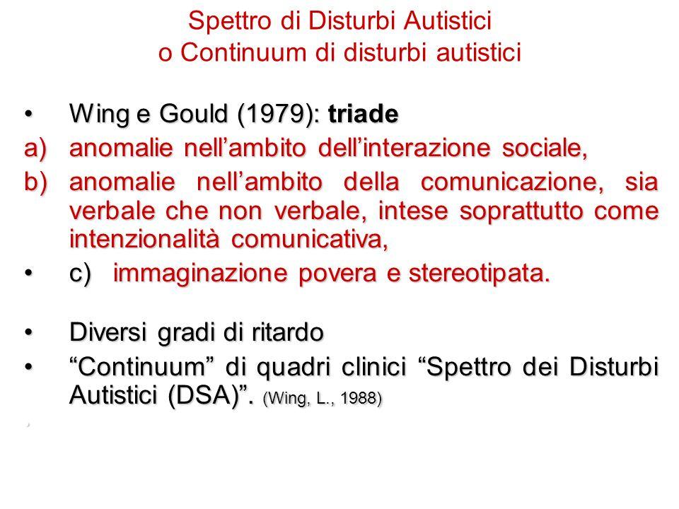 Spettro di Disturbi Autistici o Continuum di disturbi autistici
