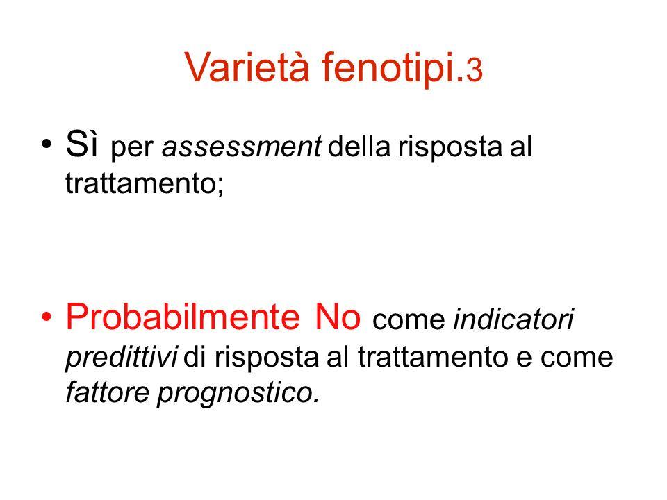 Varietà fenotipi.3 Sì per assessment della risposta al trattamento;