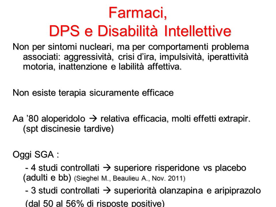 Farmaci, DPS e Disabilità Intellettive