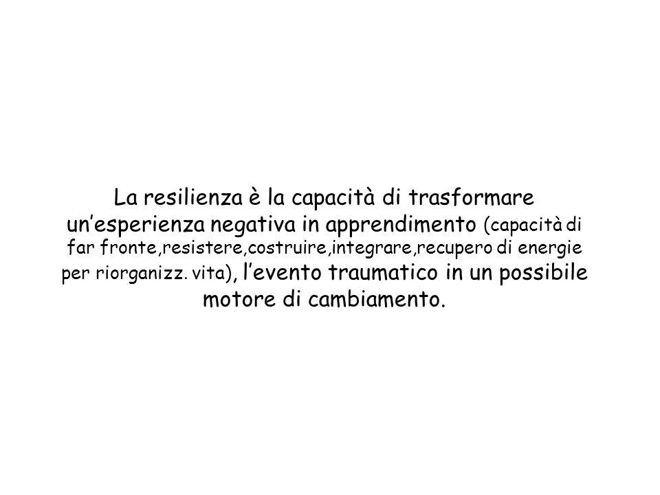 La resilienza è la capacità di trasformare un'esperienza negativa in apprendimento (capacità di far fronte,resistere,costruire,integrare,recupero di energie per riorganizz.
