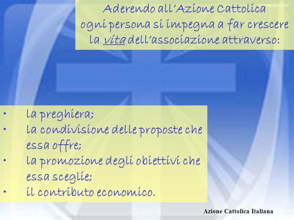 Aderendo all'Azione Cattolica ogni persona si impegna a far crescere la vita dell'associazione attraverso: