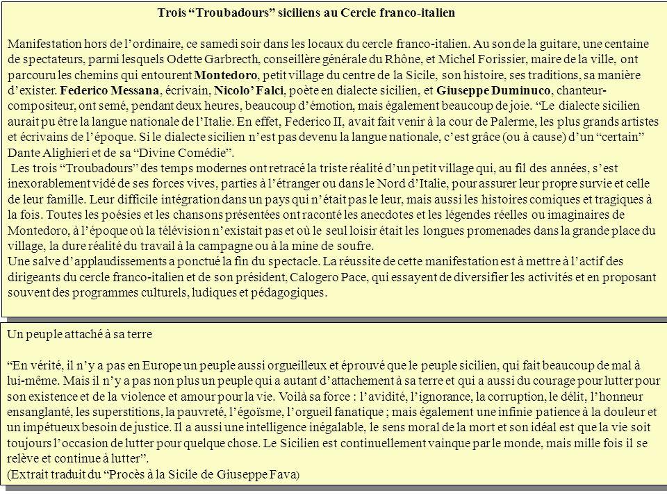 Trois Troubadours siciliens au Cercle franco-italien