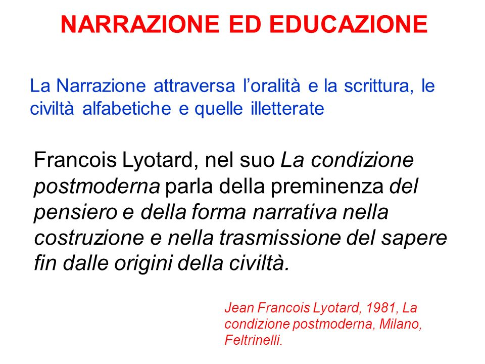 NARRAZIONE ED EDUCAZIONE