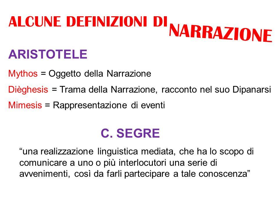 NARRAZIONE ALCUNE DEFINIZIONI DI ARISTOTELE C. SEGRE